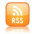 "Square ""RSS"" button with reflection (orange)"