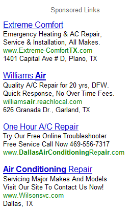 Dallas Air Conditioning AdWords Ads
