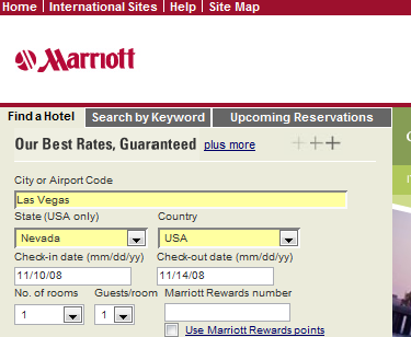 Marriott Hotels Home Page