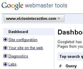 Google Webmaster Tools  Vizion Interactive