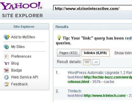 Yahoo Site Explorer Link Search  Vizion Interactive