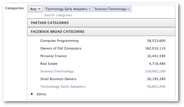 Facebook Broad Categories for Ads