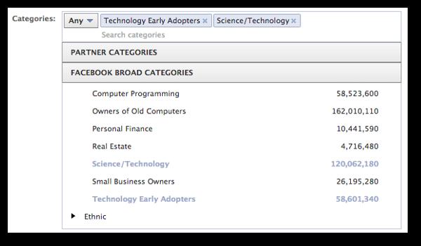 Facebook Broad Categories for Ads