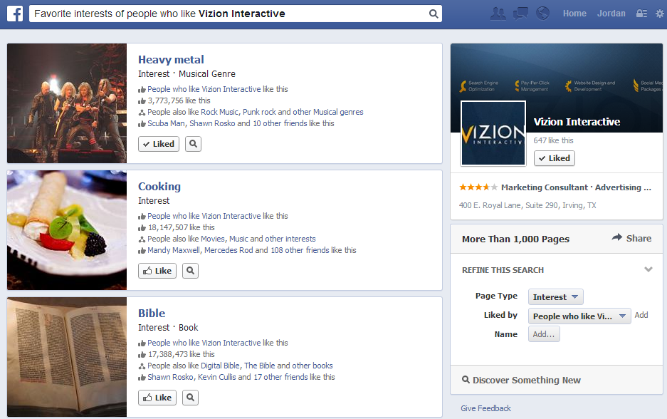 facebook interests of people who like Vizion Interactive