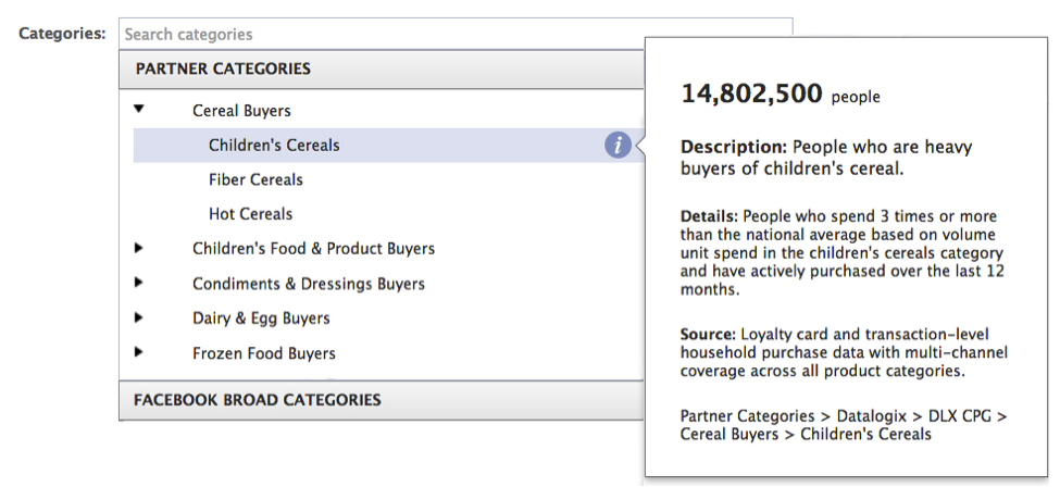 Facebook Partner Categories for Ads