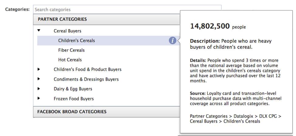 Facebook Partner Categories for Ads