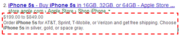 product description showing in SERPs