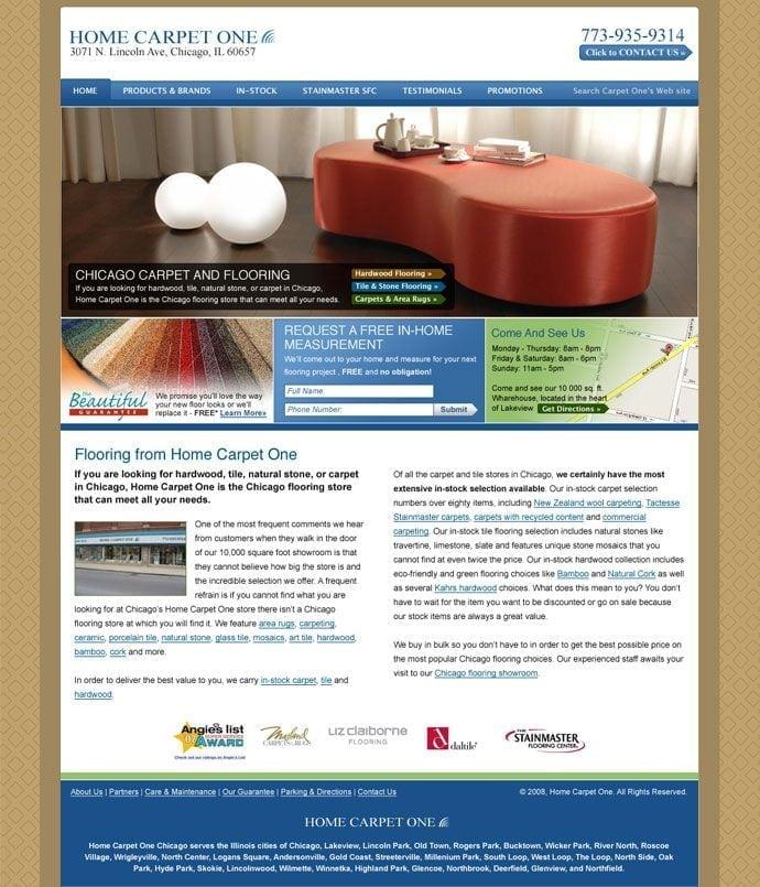 Home Carpet One site screenshot