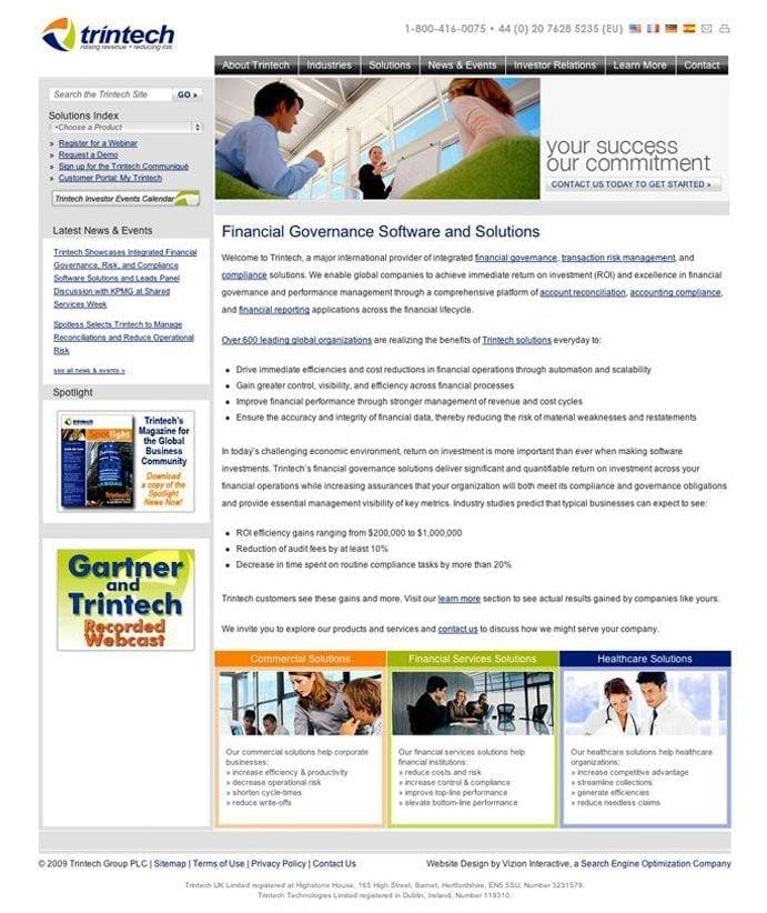 Trintech site screenshot