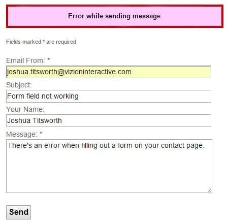 error sending an error
