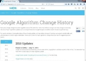 MOZ Google Algorithm Changes Home Page