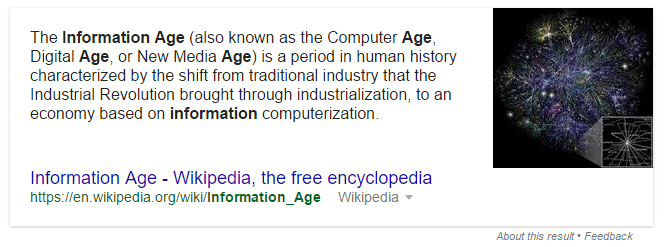 featured snippet information age