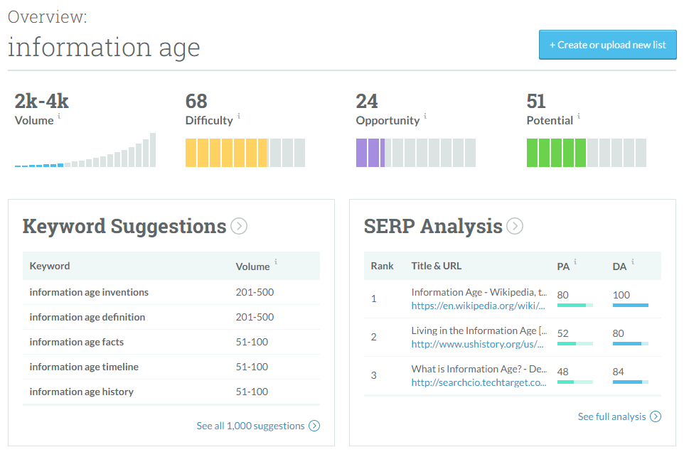 KW explorer information age